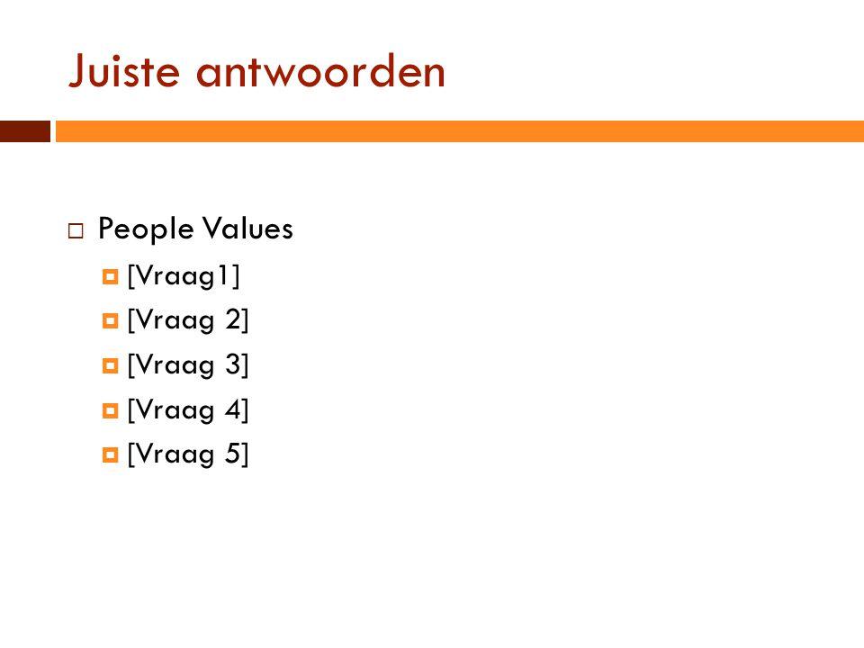 Juiste antwoorden People Values [Vraag1] [Vraag 2] [Vraag 3] [Vraag 4]